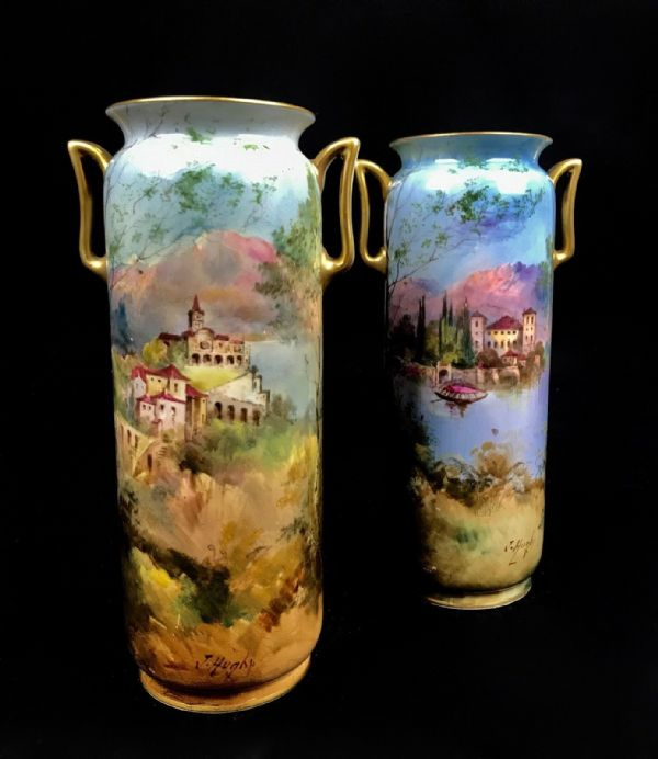 Royal Doulton Art Deco Twin Handle Vase Pair By J Hughes / Castle Scenes Antique